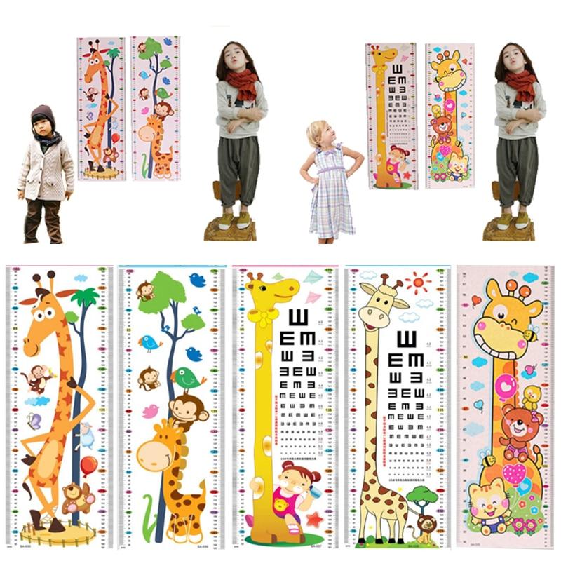 Us 128 50 Offhot 1 Sheet Kids Cartoon Wall Stickers Height Visual Chart Nursery Pvc Home Decorations Bedroom Giraffe Eye Chart In Wall Stickers