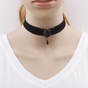 Fashion Women Gothic Harajuku Black Roses Choker Necklaces Christmas Gifts Flower Pattern Choker 2017 New Volunge Jewelry