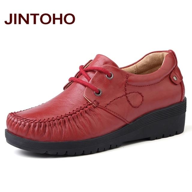 f33177359cb0e5 JINTOHO grande taille chaussures habillées pour femme 100% En Cuir  Véritable chaussures pour femmes à