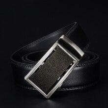 100% Genuine Leather belts for men Automatic Ratchet Buckle Fashion formal Leather belts big size 110-130CM long CZ053