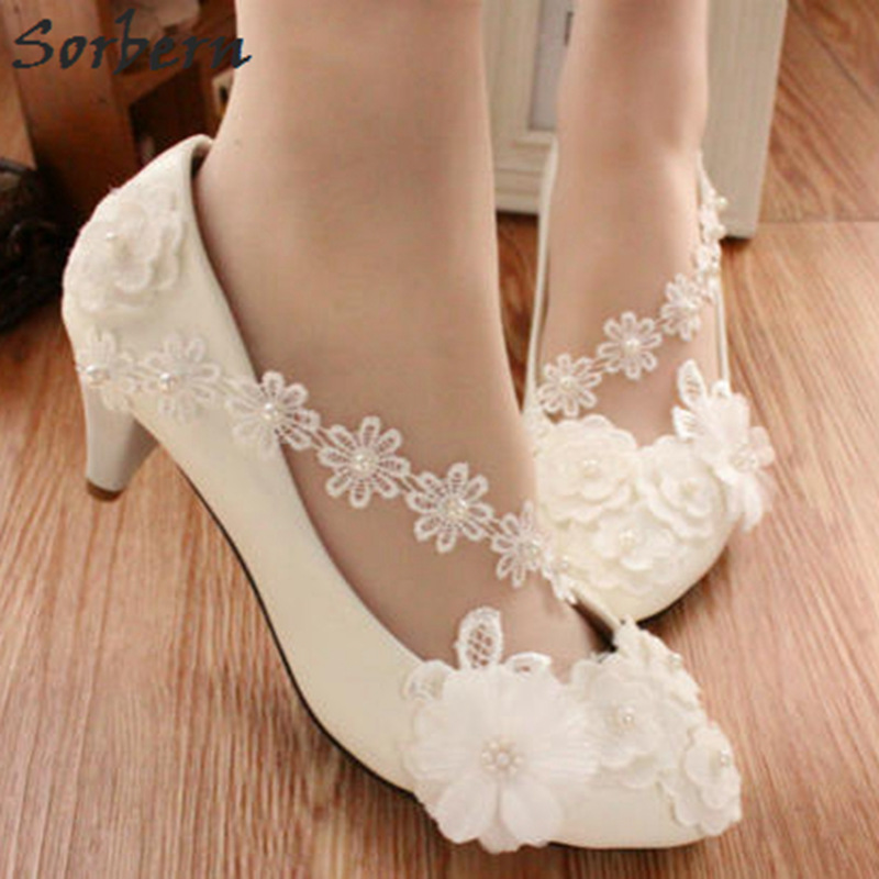Sorbern Cheap Low Heel Women Fashion Sweet White Bridal