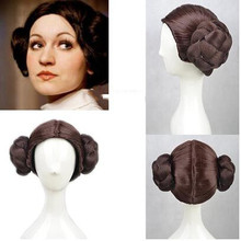 Anime Star Wars Princess Leia Organa Solo Wig Short Brown Cosplay Wigs Hair With Two Buns + Wig Cap