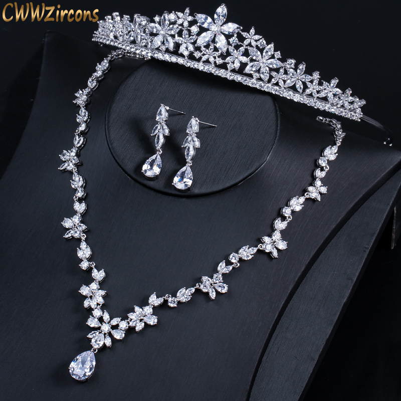 CWWZircons Luxury Cubic Zirconia Bridal Wedding Crown Tiara Set High Quality Cubic Zirconia Hair Band Jewelry for Brides T311