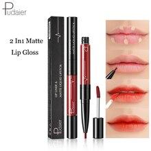 Pudaier Matte Lip Gloss Liner 2 in1 Maquiagem Profissional Completa Agate Red Tint Plumper Tattoo Makeup liquid Lipstick
