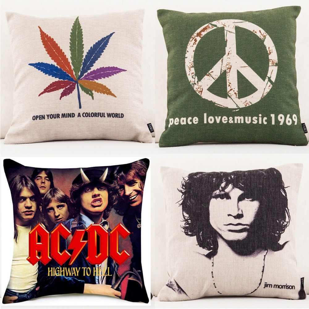 Rock And Roll Müzik minder örtüsü Jim Morrison Michael Jackson Barış Aşk Müzik 1969 minder örtüsü s Kanepe Kanepe Keten Yastık Kılıfı