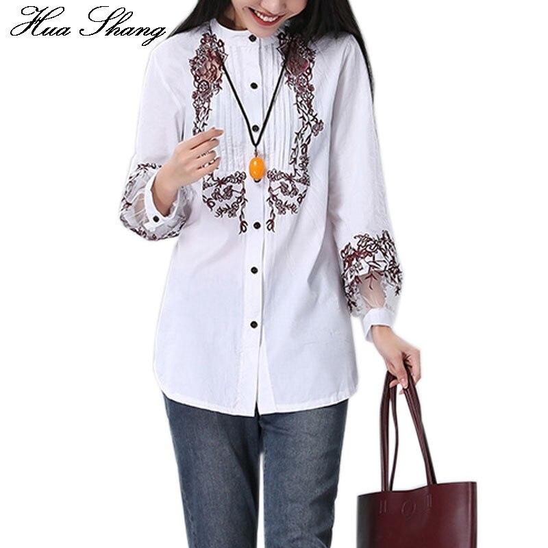 bc1557e8c41 Для женщин хлопок Цветочная вышивка  белый цвет рубашка элегантный  прозрачный длинный рукав Свободные Длинная блузка офисные Топы коррект.