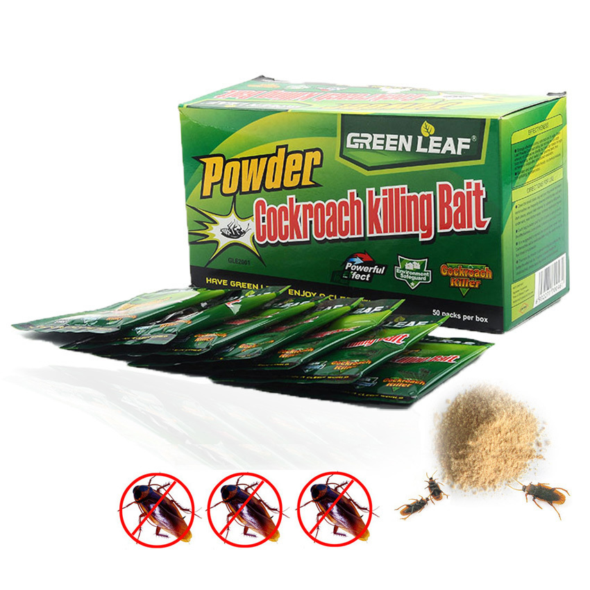 200PCS/Green Leaf Cockroach Killing Bait Medicine Insecticide  Roach Killer Pest Control Idea For Kitchen Restaurant Dropship