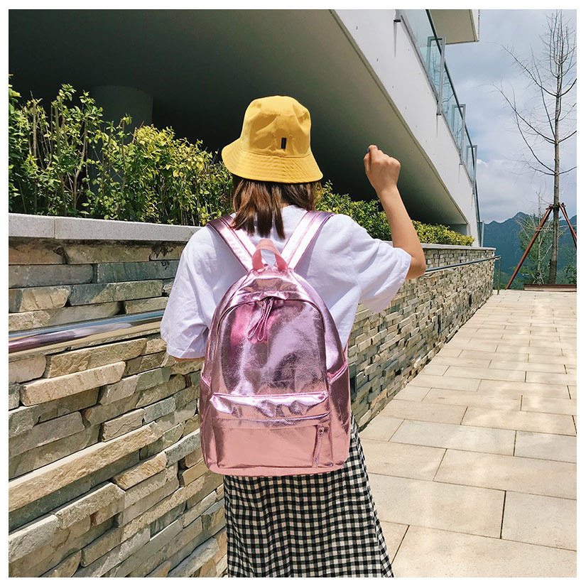 Kpop Shiny backpacks women big capacity Casual Girls School Bag Laptop Backpack sac PU leather Travel Rucksack female bags Silver Gold (15)