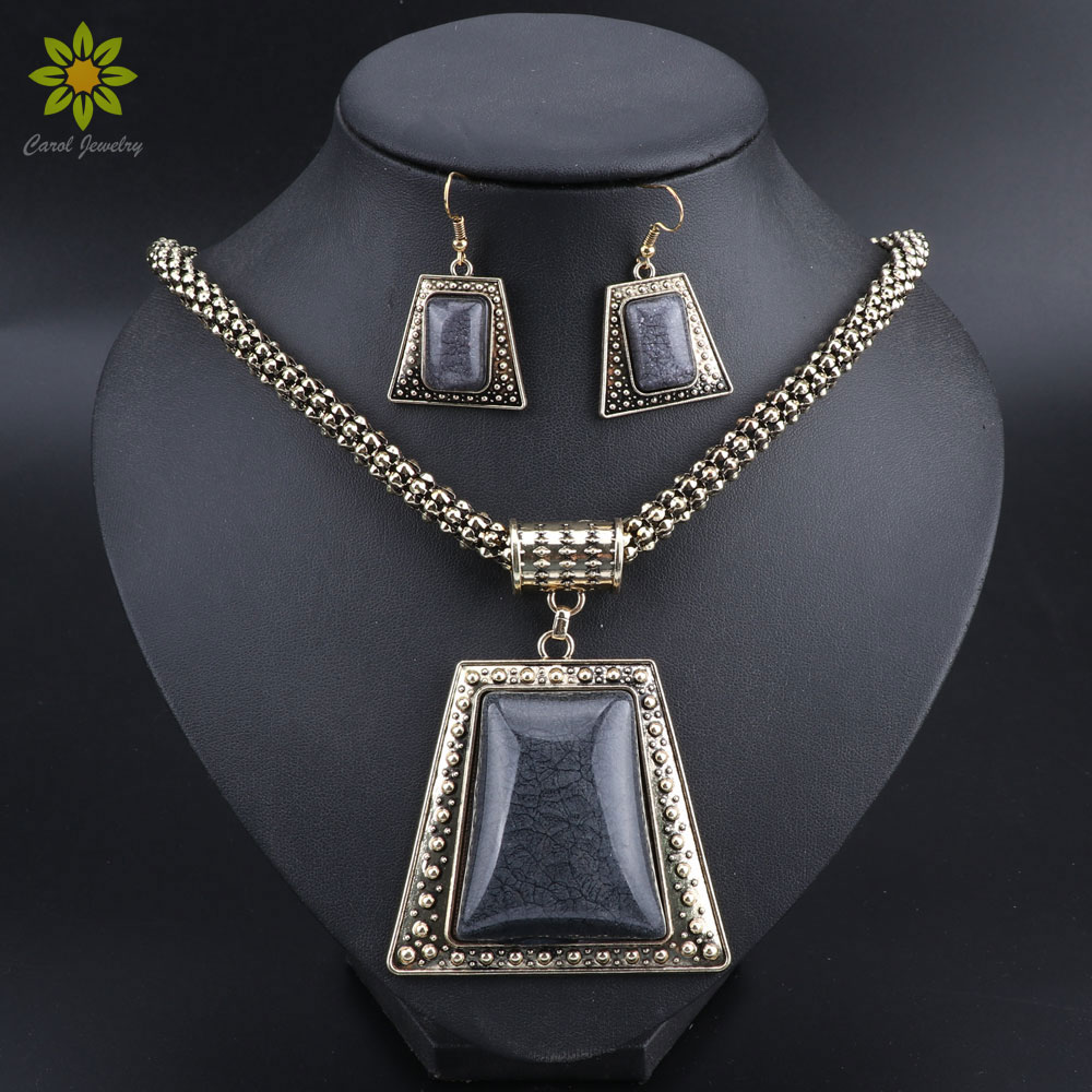 Jewelry-Sets Necklace Stone Geometric Fashion Charm Resin Women for Antique Gold-Color