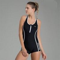 2018 Women One piece Sport Swim Suit with Lining Bra Pads Bathing Suit Female Athletic Top Swim Wear Bikini Body Swimsuit Beach