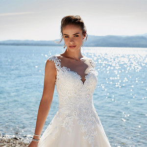Image 3 - SoDigne 레이스 웨딩 드레스 아플리케 민소매 환상 비치 웨딩 드레스 빈티지 브라 가운 vestidos de novia Pluse size