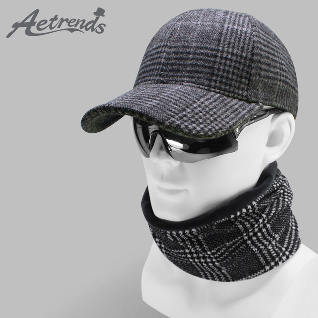 45f1c74a [AETRENDS] 2019 New Combination Plaid Baseball Cap with Neck Warmer Men's  Sport Caps Outdoor