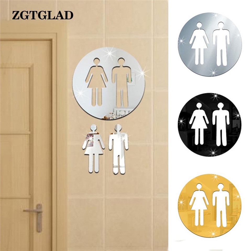 Hot Diy 3d Toilet Hotel Washroom Door Removable Decal Art Wall Sticker Mirror Decor A Complete Range Of Specifications Home & Garden Wall Stickers