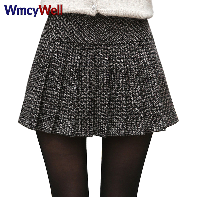 WmcyWell 2017 Fashion Women's Casual Plaid High Waist A-Line Pleated Short Skirts Uniforms School Tartan Plaid Skirt