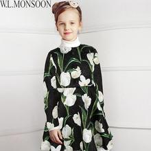 цена на W.L.MONSOON Girls Winter Dress 2017 Brand Princess Dress with Button Tulip Flower Kids Dresses for Girls Christmas Clothes