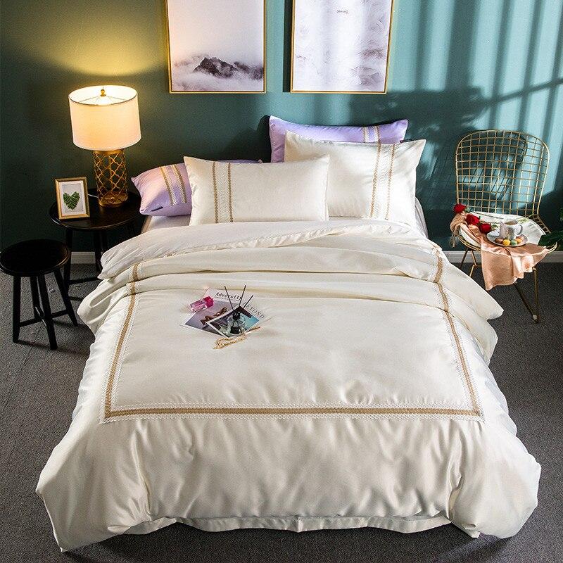 Lace Edge Silk Linens Cotton Bedding set Queen King Size 4pcs Solid Color soft comfortable Bed Linens Pillowcase Duvet Cover set
