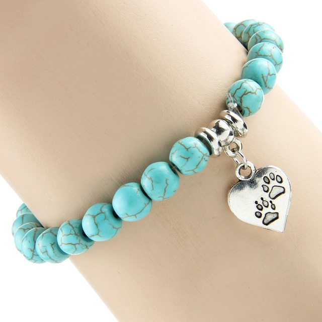 Bespmosp New Vintage Heart Dog Cat Animal Feet Footprint Blue Bead Pendant Bracelet Women Girl Statement Jewelry Gift 2