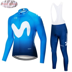 2019 Movistar Winter Thermal Fleece Long Sleeves Cycling Jersey Set Men Clothing Bike Clothes Wear Bicycle Maillot Ropa Ciclismo