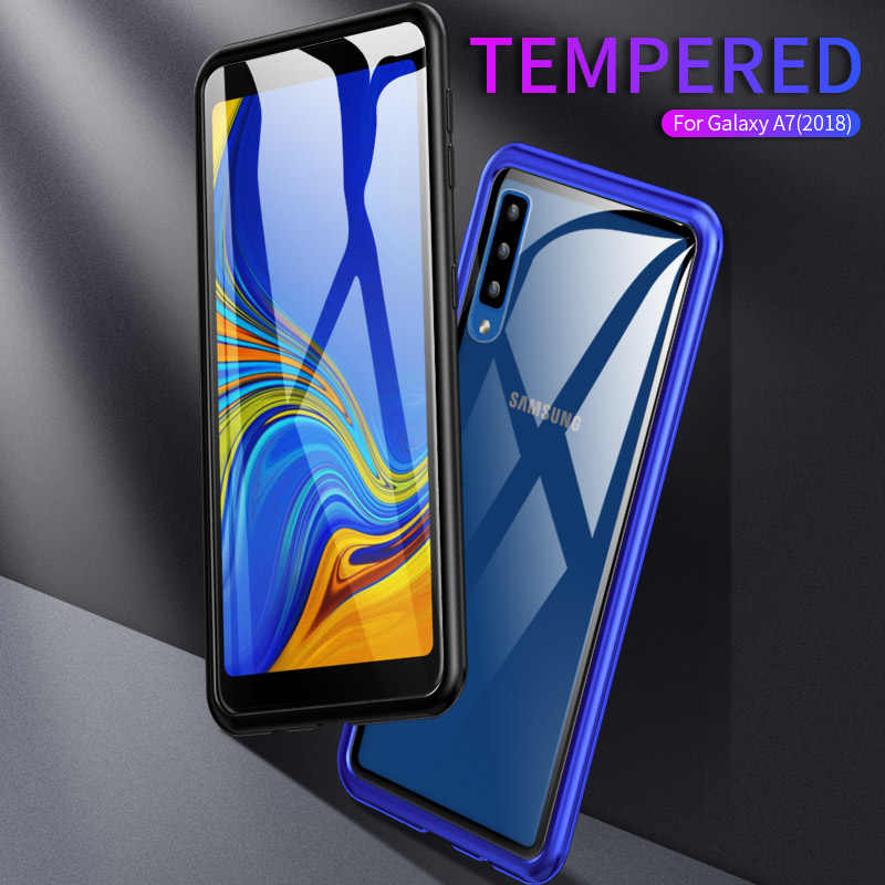 Magnetic Case for Samsung A7 2018 A750 Metal Bumper Tempered