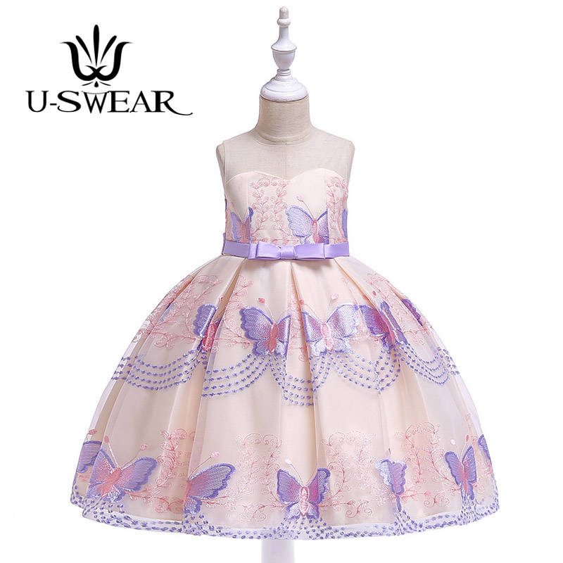 U-SWEAR 2019 New Arrival Kid   Flower     Girl     Dresses   O-neck Sleeveless Butterfly Flora Embroidery   Girls   Chiffon Ball Gown Vestidos