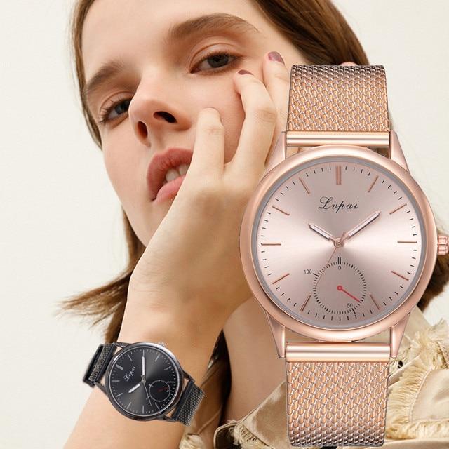 Lvpai 2019 Famous Brand Gold Silver Casual Quartz Watch Women's Casual Quartz Silicone strap Band Analog Wrist watch