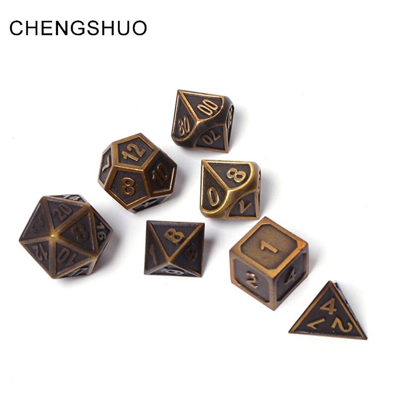 Chengshuo rpg poliédrico dice set masmorras e dragões jogo de mesa digital de metal de liga de zinco dices dados 7 pcs d4 10 12 20 latão