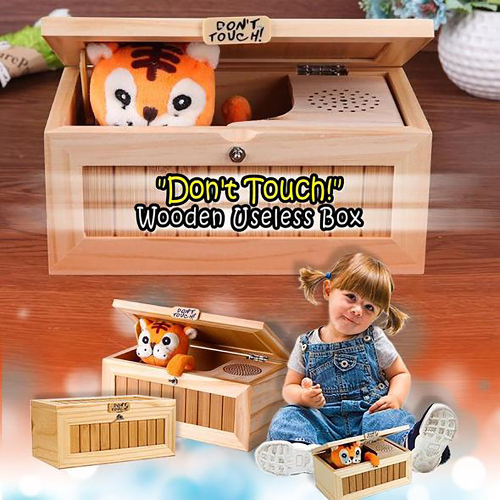 Most Useless Machine Tiger Toy Gift With Sound Wooden Useless Box Leave Me Alone Box Funny Toys Drop Shipping#g4