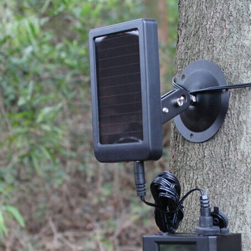 (1Set)Free For Shipping Solar Power Panel with DC2.1 Jacket Bracket Strap Mounting in Outdoor Waterproof IP54 for Hunting Camera usb3 0 round type panel mounting usb connecter silver surface