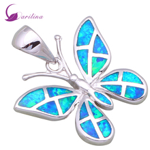 Wholesale High quality Silver Blue fire opal pendants butterfly pendants fashion jewelry for women P199