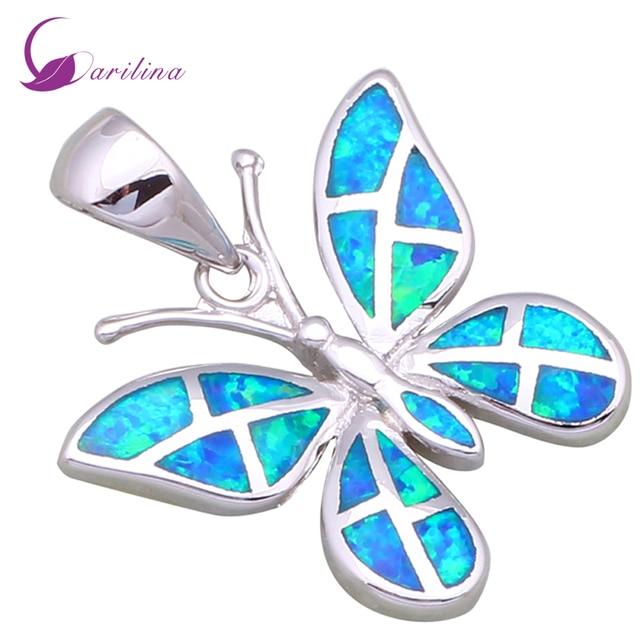 Wholesale High quality Silver Blue fire opal pendants butterfly pendants fashion jewelry for women P199