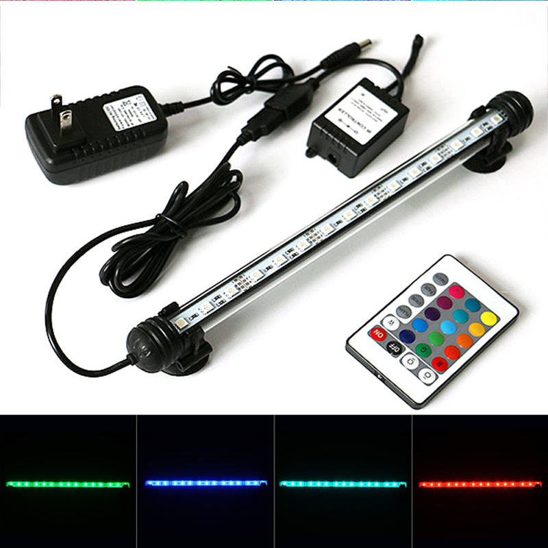 US EU UK Plug Aquarium Light 46CM 5050 RGB LED Aquarium Fish Tank Submersible Light Lamp With Remote Control MF-27U-46CM rgb led aquarium light fish tank waterproof ip68 5050 smd led bar light lamp submersible remote eu us plug 18cm 28cm 38cm 48cm