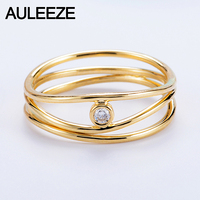 14K 585 Yellow Gold 3 Lines Natural Real Diamond Ring In Rome Irregular Line Style Solitaire