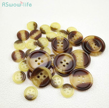 50pcs Resin Buttons High-end Blended Round with Four Shirt DIY Crafts Clothing Sewing Accessories