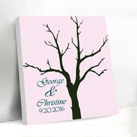 Pink Fingerprint Wedding Tree Canvas Guest Book with Inkpad Wedding Decoration 40x50cm Chic Wedding Gifts for Bride and Groom
