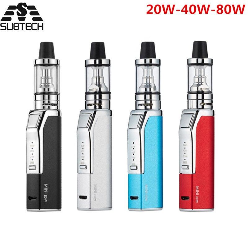 Hot! d'origine mini 80 w cigarette électronique kit 1100 mah batterie puissance réglable led lumière stylo vaporisateur kits vaporisateur e cigarettes