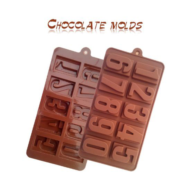 0 9 Numbers Chocolate Moulds DIY Baking Mold Silicone Cake Bakery Moulds High Temperature Resistant Baking Tools in Cake Molds from Home Garden