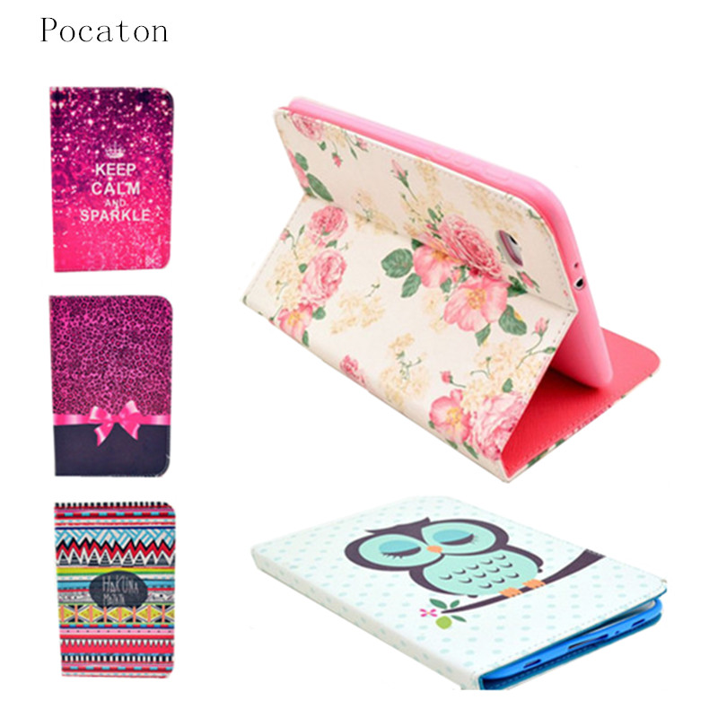 Pocaton Cases For Samsung Galaxy Tab 2 7.0 Inch Flip PU Leather Stand Case P3100 P3110 Cute Flower Cartoon Owl Tablet PC Cover luxury flip stand case for samsung galaxy tab 3 10 1 p5200 p5210 p5220 tablet 10 1 inch pu leather protective cover for tab3
