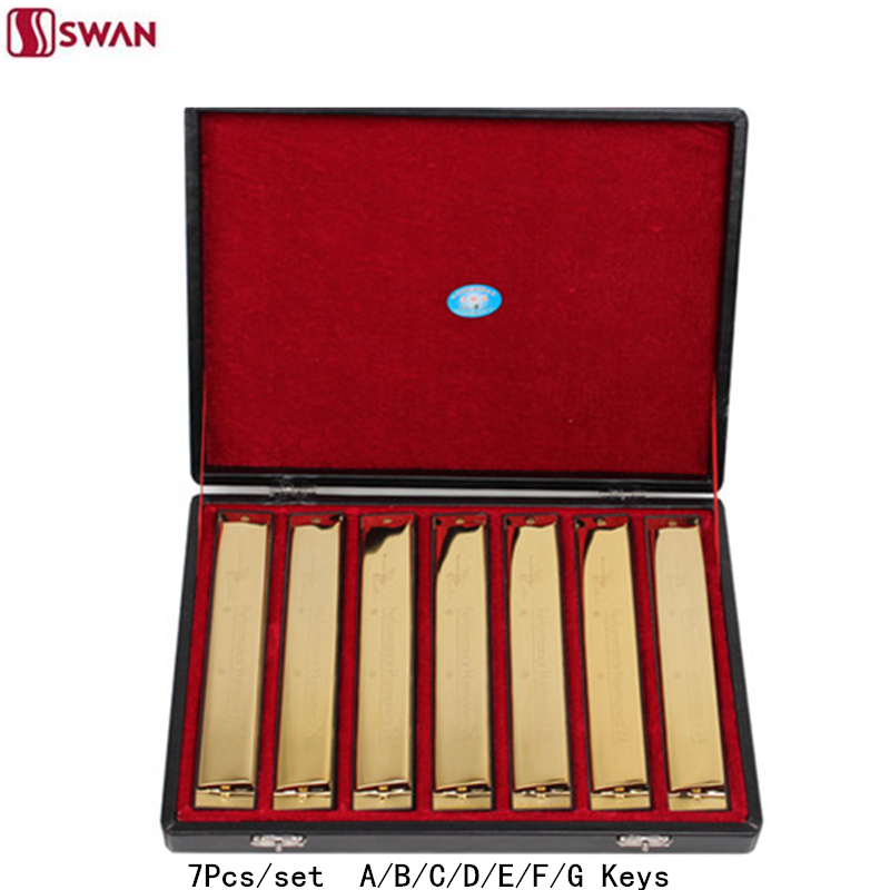 7Pcs/set Swan Harmonica 24 Hole Golden color Tremolo Harp with Gift Box Musical Instrument Mouth Organ for Collect Gaita 7pcs set swan 10 hole 20 tone harmonica senior diatonic blues harp 7 tune set mouth organ sliver color with gift box gaita