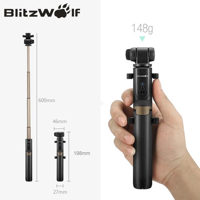 BlitzWolf BS3 Wireless bluetooth Selfie Stick Mini Tripod Extendable Foldable Monopod For iPhone For Samsung Xiaomi Huawei Phone 4