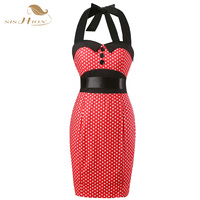 Women Sexy Red Pencil Polka Dot Dresses Summer Style Sheath Bodycon Office Dress 50s Vintage Ladies
