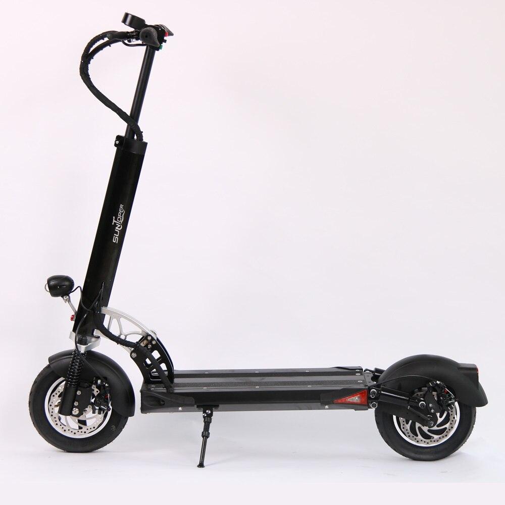 2017 48 v 500 w/52 v 600 w Puissant 2 Roues Mini Pliable avec avant et arrière Suspension disque De Frein 10 pouce roue E-Scooter