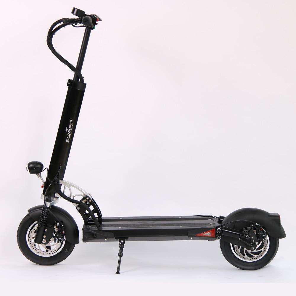2017 48 500 V W/52 V 600 W Poderoso 2 Rodas Mini Dobrável com Suspensão dianteira e traseira freio a disco 10 polegada rodas Scooter E-