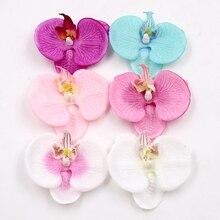 10 шт., искусственные цветы, высокое качество, шелковые головки орхидеи бабочки для свадьбы, украшение для дома, сделай сам, Flores Cymbidium, ручная р...