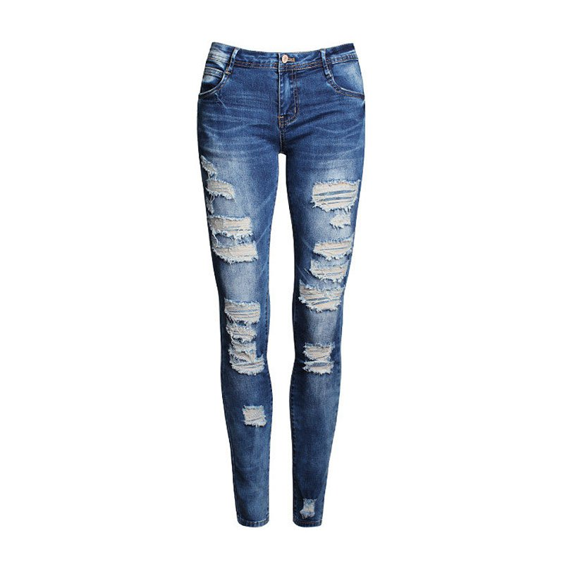 fashion straight ripped holes jeans 1