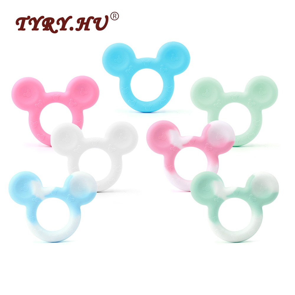 TYRY HU BPA Free 25Pcs Cute Mouse Shaped Silicone Teether Multicolor Necklace Pendant Food Grade Infants