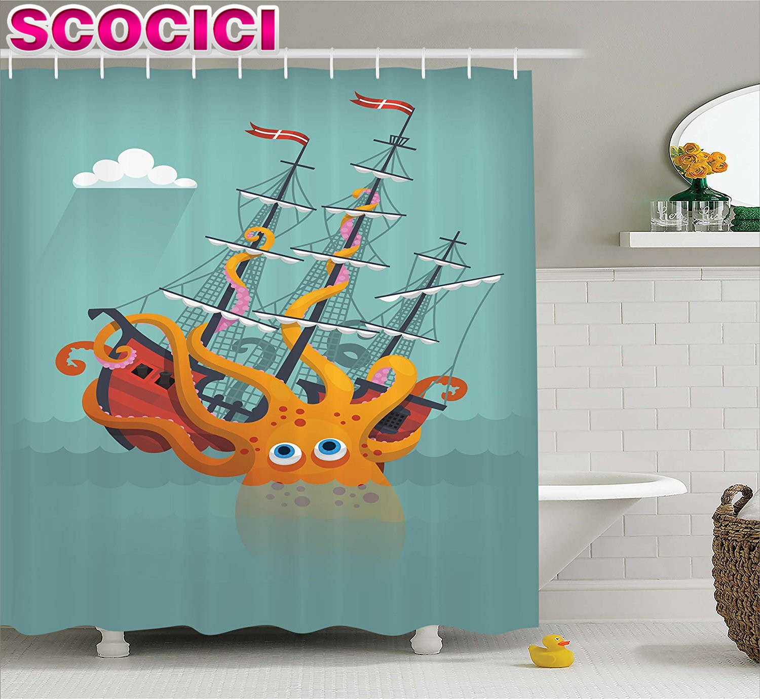 Pirate bathroom decor - Kraken Decor Shower Curtain Giant Squid Sinking A Pirate Boat Into Ocean Anchor Ship Humor Kids Design Fabric Bathroom Decor Set
