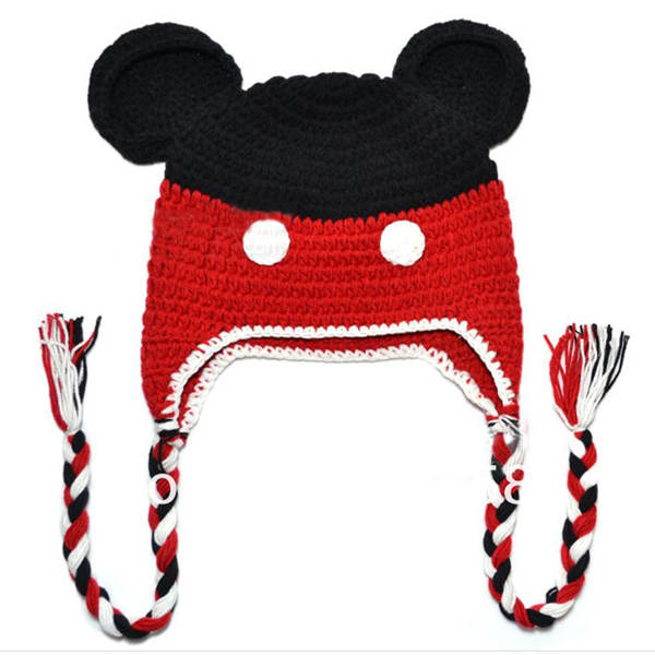 Free Shipping Mickey Mouse Handmade Knit Crochet Animal Baby Hats Kids  Earflaps Winter Beanie Baby Crochet Cap 5pcs-in Hats   Caps from Mother    Kids on ... c470837a5ff