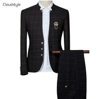 Cloudstyle Bussiness מותג אופנה חליפות אדון מזדמן חליפת Slim Fit גברים חתונת חתן שמלה לפורמאליות המפלגה בתוספת גודל 6XL