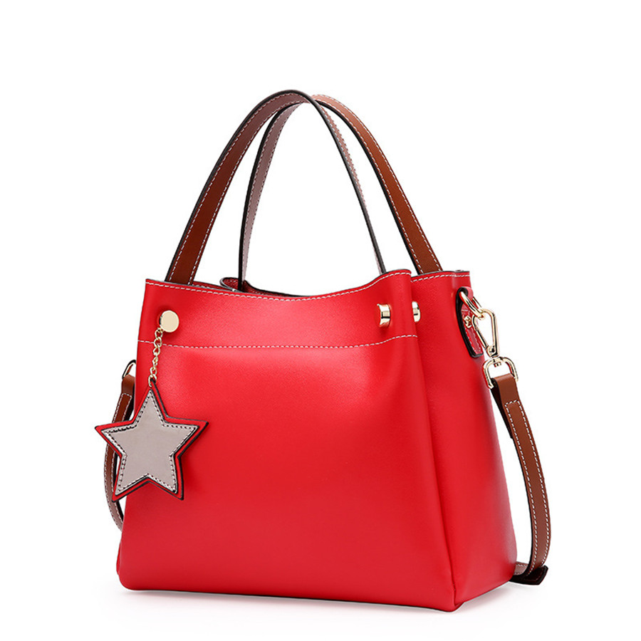 Women top-handle bags High quality Genuine leather handbags sofemale bag star hang decoration bolsa feminina de ombro com bol kzni real leather tote bag high quality women leather handbags top handle bags purses and handbags bolsa feminina pochette 9057