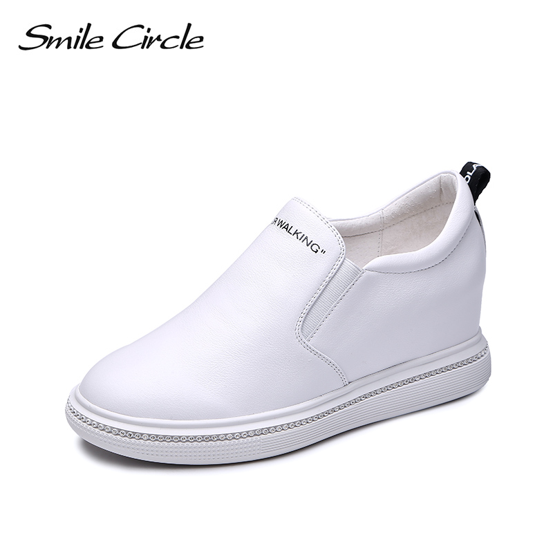 Smile Circle Wedges Sneakers Women Slip-on Genuine Leather Platform Shoes For Women 2018 Autumn Casual Shoes 6cm height increase elevator 2015 autumn single shoes women s black genuine leather wedges casual shoes dawdler women s platform shoes